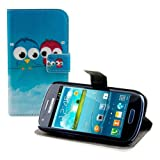 kwmobile Funda chic de cuero sintético para el Samsung Galaxy S3 Mini i8190 con una práctica función de soporte - ¡Diseño pájaro comic en azul rojo azul claro!