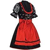 PAULGOS Dirndl Set 3 Teilig Laura, Trachtenkleid, Dirndl Bluse, passende Schürze, Damen Größe:36, Farbe:Schwarz - Rot