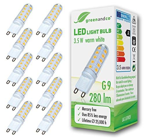 10x greenandco® LED Lampe ersetzt G9 25-35 Watt Halogenlampe, 3,5W 280 Lumen 3000K warmweiß 270° 230V AC nicht dimmbar, 2 Jahre Garantie