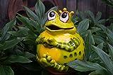 Keramik Gartenkugel Froschkönig Grün Gartendekoration Tierfigur Handarbeit
