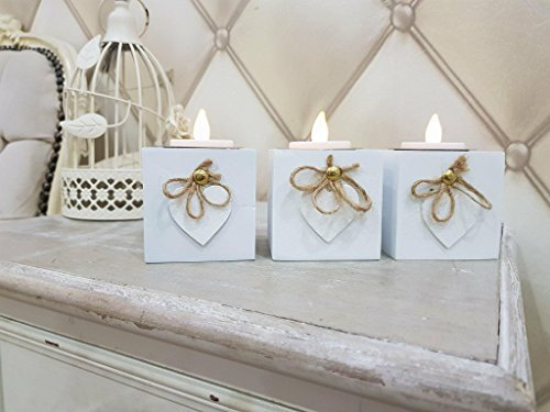 homezone Paquet de 3 en bois blanc cœur amour BOITE shabby chic Bougie supports rustique décoration maison centre table Noël, moderne 3x Porte-bougie chandelier Marriage Pièce maîtresse
