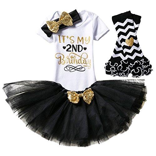 gs Kleinkind Baby Mädchen Ist es Mein 1. / 2. Geburtstags Prinzessin Outfits Spielanzug Rock Tütü Pettiskirt mit Bowknot Stirnband Beinwärmer Partykleid Fotoshooting Kostüm (Kleinkind-mädchen-geburtstag)