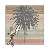 Hectwya Sets de Table for Dining Table,Florida Palm Tree Non-Slip Insulation Placemat Washable PVC Polyester for Kitchen Banquet Party,Set of 6, 12x12 inch...