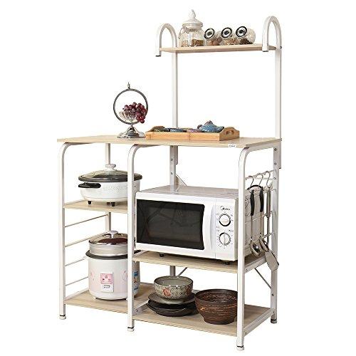 Soges microonde scaffali stazione di lavoro cucina armadio per la conservazione mensola della cucina carrello di servizio, ganci liberi