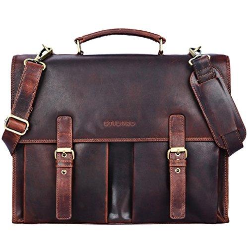 STILORD 'Constantin' Vintage Lehrertasche Aktentasche Herren Damen Bürotasche Hauptfach für 15.6 Zoll Laptop Umhängetasche groß Leder, Farbe:kara - braun