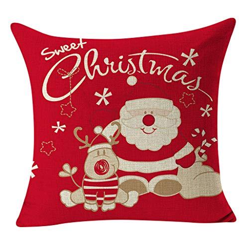 OPALLEY Weihnachten Kissenbezug 1 Pack, Weihnachtsbaum Schneeflocke Rentier Wohnkultur Leinen Dekokissen Cases Xmas Holiday Farmhouse Home Schlafzimmer Dekokissen
