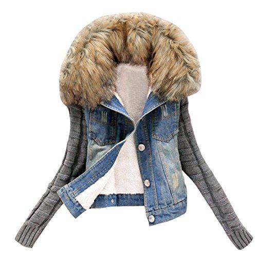 Resplend Frauen Damen Winter Warme Große Pelzkragen Wolle Ärmel Jeansjacke Knopf-Strick-Hülsen-Cowboy Denim Taschen Jacke Mantel (Blau, M)
