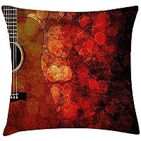 Juchenjixie - Funda de cojín para decoración de música, diseño de guitarra acústica con fondo brillante y melodía, 45,7 x 45,7 cm, diseño de carlé de rubí