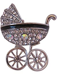 Brooch Boutique Silver Plated Crystal and AB Crystal Pram Brooch Baby's Pram Carriage hnqdm0z