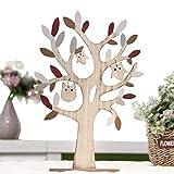 Valery Madelyn Ostern Dekoration Baumform 38cm Frühling Holz Osterndeko mit Eulen Dekofigur für Garten Dekoration Tischdeko Braun MEHRWEG Verpackung