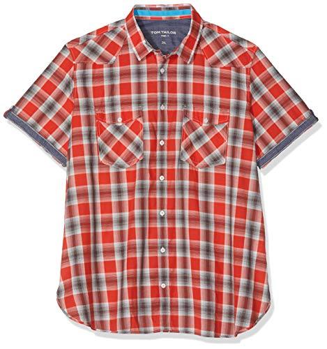 TOM TAILOR Casual Herren Hemd Mit Muster Freizeithemd, Mehrfarbig (Red Grey Shadow Chec 16480), XXXXX-Large (Herstellergröße: XXXXXL) - Shadow Langarm-shirt