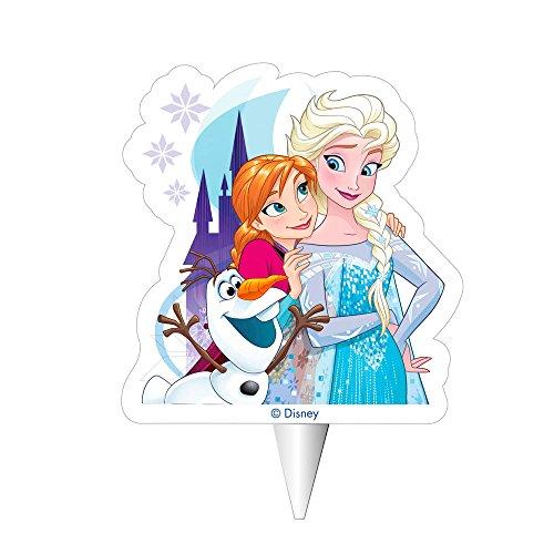 Dekora 2D Frozen Elsa, Anna und Olaf Geburtstagskerze bunt 8cm (1)