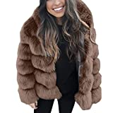 HOOUDO Womens Coat Autumn Winter Fashion Casual Solid Thick Outerwear Hooded New Faux