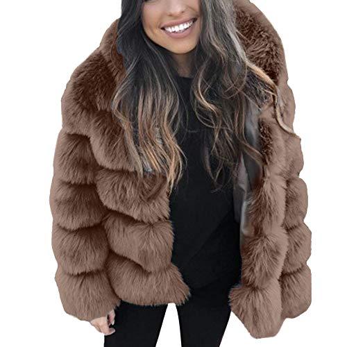 Luccyone moda donne faux mink inverno nuovo pelliccia ecologica giacca caldo di spessore cappotti giacca (s, marrone)