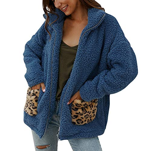 ZHANSANFM Plüschjacke Damen Langarm Einfarbig Wintermantel mit Leopard Taschen Weichem Teddy-Plüsch Outwear Faux Pelz Fleece Revers Mantel Mode Beiläufige Winterjacke Steppjacke (M, Blau)