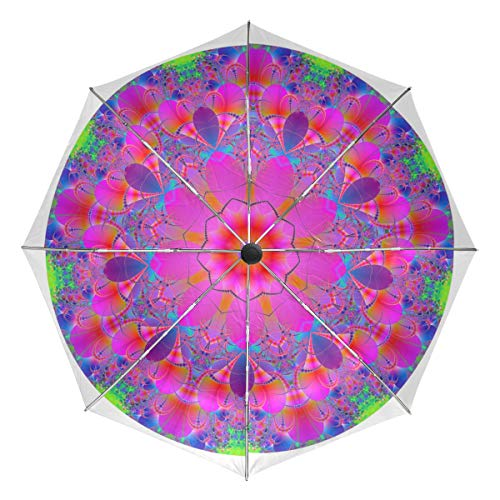 DEZIRO? Paraguas Hippie Mandala al Aire Libre. Abierto automático, Resistente al Viento e Impermeable, Unisex Adulto, DR-322, 3, Talla única