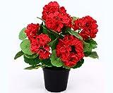 Geranien Kunstblumen im Topf 28cm hoch mit roten Blüten - Kunstpflanze künstliche Blumen Kunstblumen Blumensträuße künstlich, Seidenblumen oder Blumen aus Plastik Kunststoff