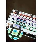 WEATLY Teclado mecánico con Teclado numérico de Tipo máquina de Escribir Vintage de 104 Teclas con interruptores Cian (Color : White Plating keycap)