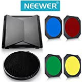 Neewer Barn Door & Honeycomb Grid & Gel Set for Hensel Flash