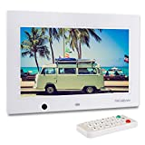 TEC.BEAN 10.1-Zoll 8G HD Digitaler Bilderrahmen mit Eingebautem Speicherung- und Bewegungssensoren, MP3- und Video-Wiedergabe (Weiß)