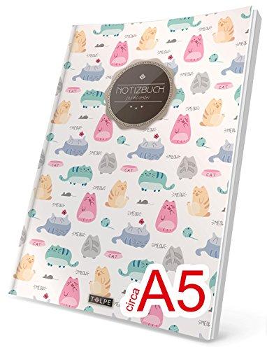 """TULPE Punktraster Notizbuch: Ca. A5 """"C115 Lustige Katzen"""" (Vintage Softcover, Register, Punktpapier - Bullet Journal, Kalligraphie Übungsheft, Skizzenbuch, Gepunktete Seiten, Dotted Grid Journal)"""