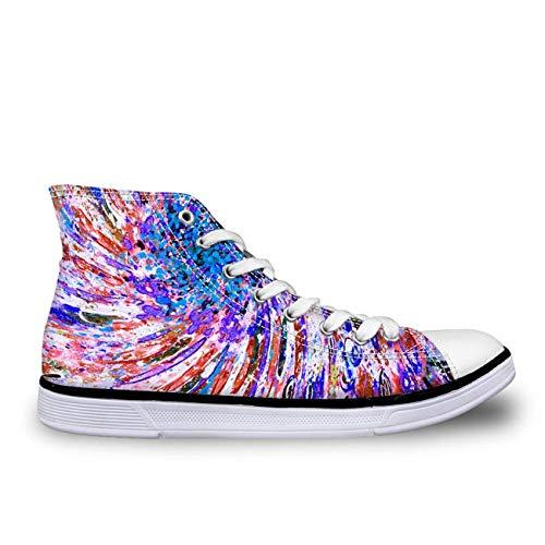 Blue Designs Lace Up Women Girls Hi Tops Canvas Shoes Flat Plimsolls Light Pumps Pink+Blue UK 4