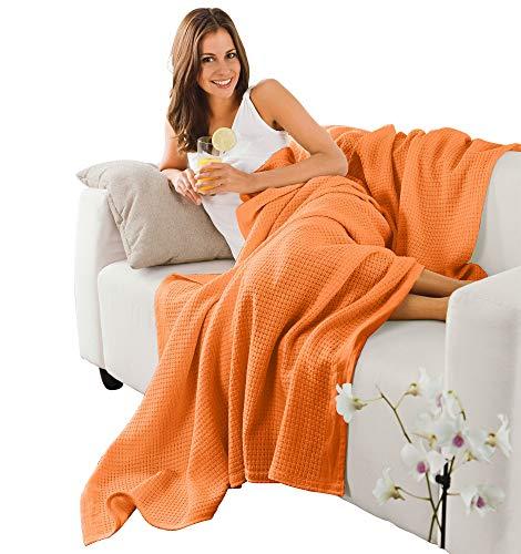 Erwin Müller Sommerdecke, Baumwolldecke - luftig-leicht, weiche Qualität, sehr angenehm - orange Größe 150x200 cm - weitere Farben und Größen - 100% Baumwolle