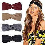 DRESHOW Stirnbänder für Frauen Geknotete Boho Stretchy Haarbänder für Mädchen Criss Cross Turban Plain Headwrap Yoga Workout Vintage Haarschmuck 4er Pack