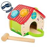 Small Foot- Casa martellare, in Un Bel Design Quattro Palline Colorate ed Un Martello di Legno Giocattoli, Multicolore, 11084