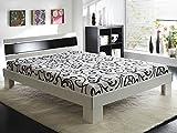 Jugendbett Ronja 140x200cm weiss schwarz, Bett komplett + Rollrost + Matratze, Singlebett Gästebett