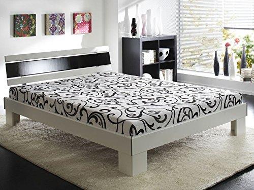 Preisvergleich Produktbild Jugendbett Ronja 140x200cm weiss schwarz,  Bett komplett + Rollrost + Matratze,  Singlebett Gästebett