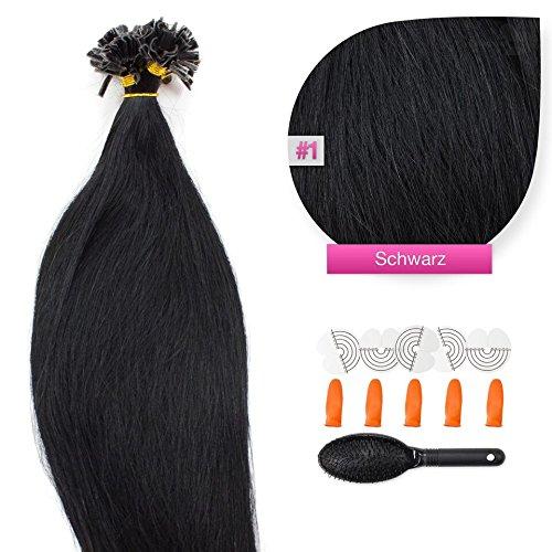 100 x 1g x 50cm schwarze Nr. 1 glatte indische Remy 100% Echthaar U-tip Extensions / Echthaar-Strähnen / Haarverlängerung mit gratis Zubehör