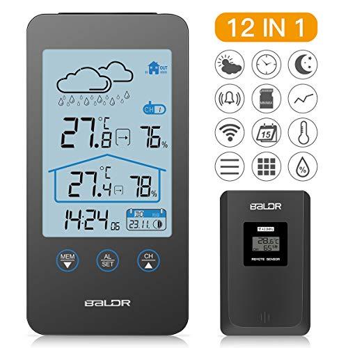 SKEY Wetterstation Funk mit Außensensor, Digital Thermometer-Hygrometer für Innen und außen, weiße Hintergrundbeleuchtung und Uhrzeit Anzeige,schwarz