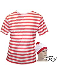 Large Fancy Dress T Shirt Red & White Stripped Top, Hat & Glasses look like a wally