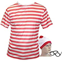 Large Fancy Dress T Shirt Red & White Stripped Top, Hat & Glasses look like a wally (disfraz)
