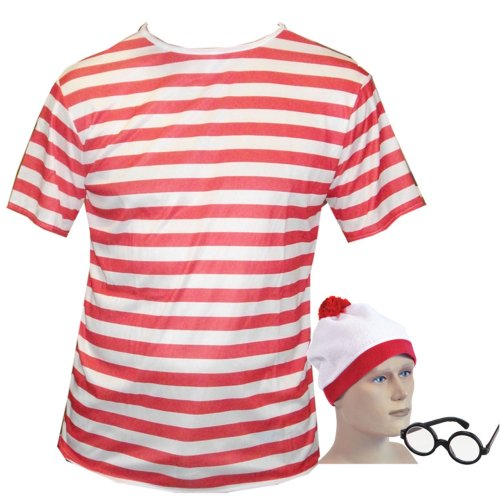 Large Fancy Dress T Shirt Red & White Stripped Top, Hat & Glasses look like a (Kostüm Wo Wally Ist Kind)