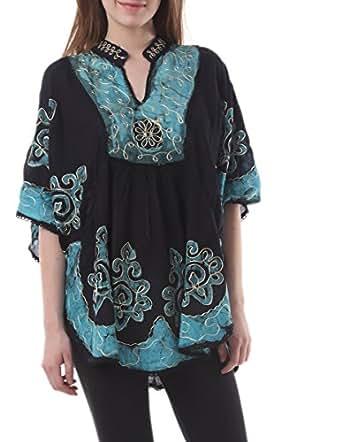 Skirts & Scarves Women's Batik Embroidered Indian Poncho / Kaftan / Top (Black & Blue)