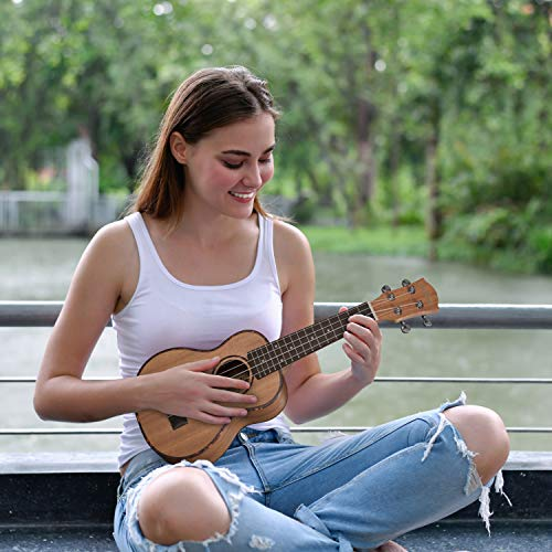 CASCHA HH 2036 DE Premium Mahagoni Konzert Ukulele Bundle mit Ukulelenschule, Stimmgerät, gepolsterter Tasche, 3 Picks und Aquila Qualitäts-Saiten - 7