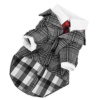 Petacc Tenue de Soirée Gentleman pour Chien Costume à Carreaux pour Petit Chien pour Party Fête Soirée Noël Design Cravate et Bouton