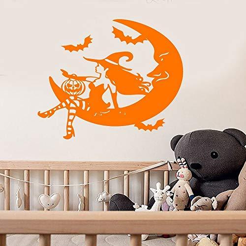 yaoxingfu Vinyl Wall Applique Märchen Halloween Hexe Crescent Moon Aufkleber, Urlaub Wandaufkleber, Home Wohnzimmer Dekoration gelb 57x58cm