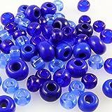 70 große Rocailles Glasperlen 6-8mm Perlen Mix Blau -853