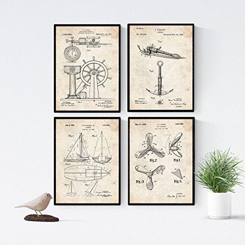 Nacnic Vintage - Pack de 4 Láminas con Patentes de Barcos. Set de Posters con inventos y Patentes Antiguas. Elije el Color Que Más te guste. Impreso en Papel de 250 Gramos