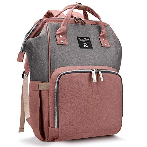 Baby Wickelrucksack Wickeltasche mit Wickelunterlage Multifunktional Oxford Große Kapazität Babyrucksack Kein Formaldehyd Reiserucksack für Unterwegs (Grau mit Rosa)