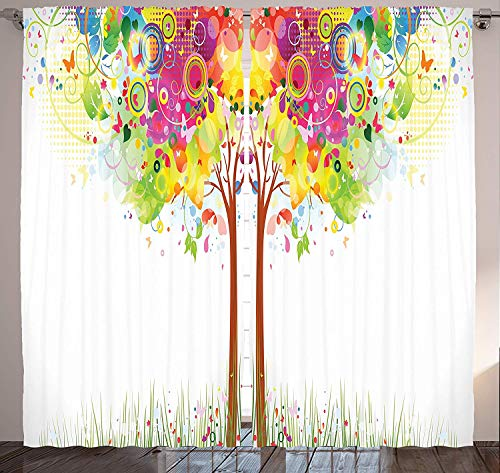 Muccum Creative Tree Decor Curtains Leaf Butterfly and Colorful Abstract Tree Bubble Floral Effect Print Window Drapes Set for Living Room Bedroom 108 X 90 Inches Orange Red and Pink - Floral Print Bubble