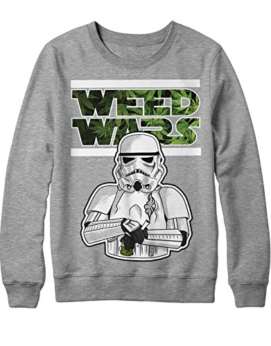 Sweatshirt Weed Wars Ganja Marijuana Darth Vader Storm Trooper Star Wars Movie Death Star Imperium C665423 Grau M
