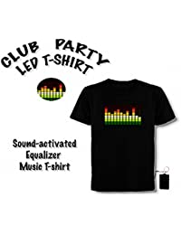 LED T-Shirt, Equalizer, Party, Club, Disco Hingucker Größe XXL