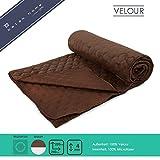 BALAK HOME Premium Tagesdecke Velour (220 x 240 cm, Braun) Kuschelig Warm | Ideal als Bettüberwurf oder Sofaüberwurf | verschiedene Größen und Farben | Original OEKO-TEX | Direkt vom Hersteller