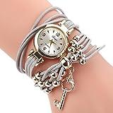 HUIHUI Uhren Damen, Geflochten Armbanduhren Günstige Uhren Wasserdicht Casual Analoge Quarz Uhr Luxus Armband Coole Uhren Lederarmband Mädchen Frau Uhr (Grau)