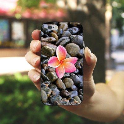 Apple iPhone 4 Housse Étui Silicone Coque Protection Fleur Rose vif Caillou Housse en silicone noir / blanc