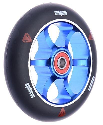 Preisvergleich Produktbild Anaquda Spoked 110mm 88A Wheel + Abec 9 Lager Stund Scooter Roller Rolle Blau / Schwarz
